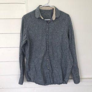 5/$20 Tasso Elba Chambray Shirt M Linen Cotton